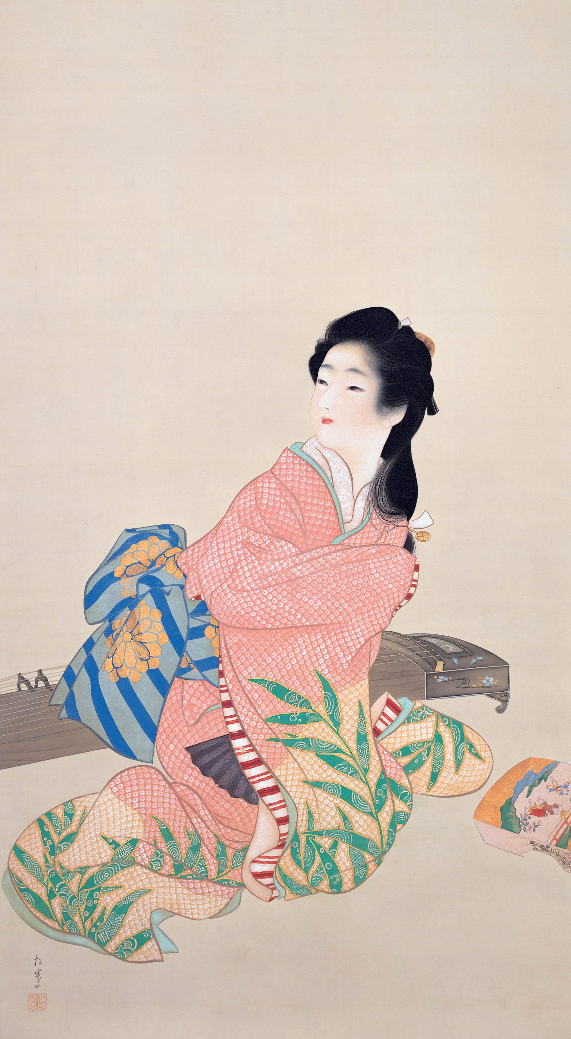 """""""Musume Miyuki (Young Girl Named Miyuki)"""" by Shoen Uemura, 1914, Adachi Museum Collection"""