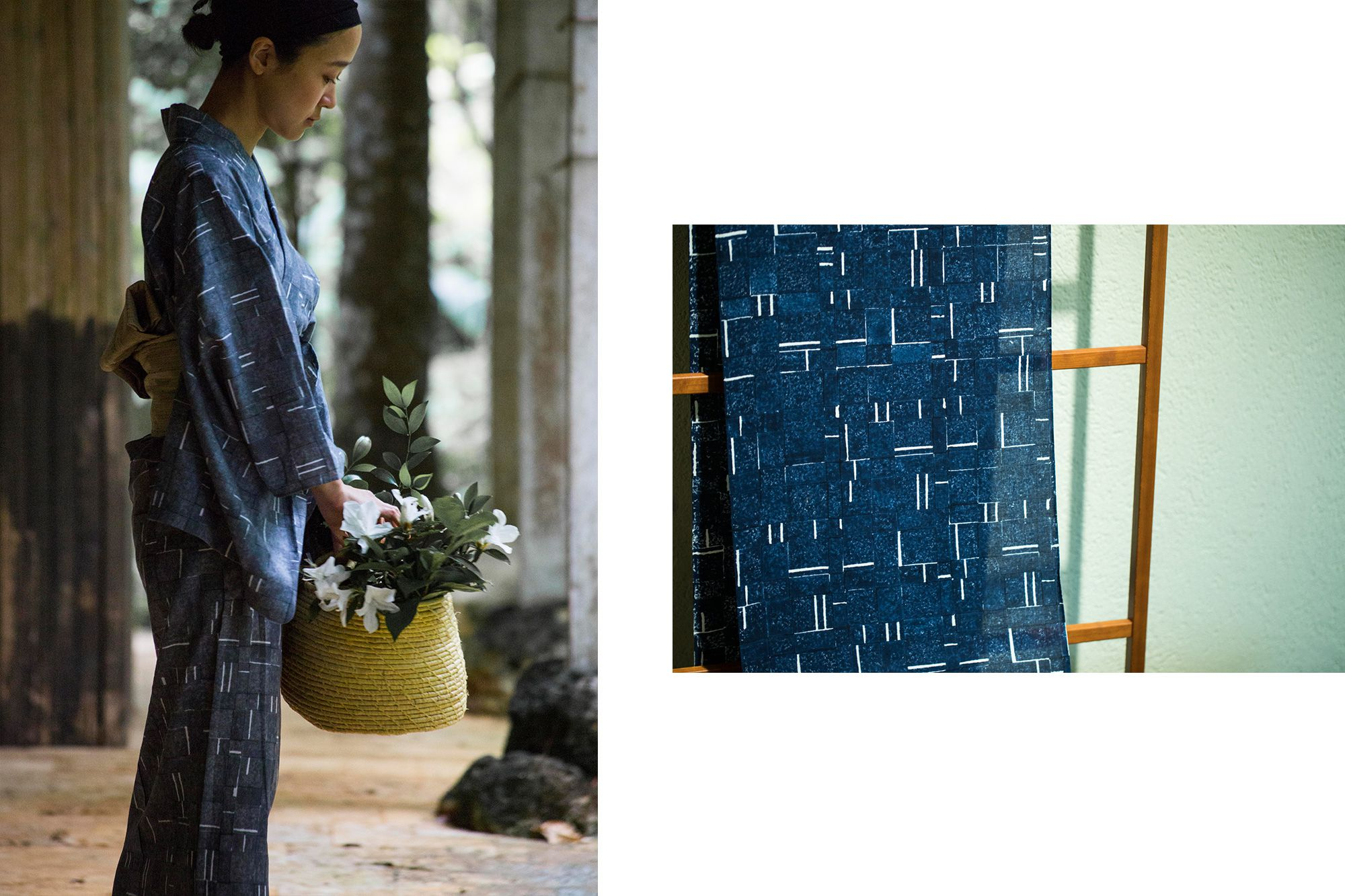 藍色や墨色と木綿地の白の対比が美しい幾何学模様のプリント。手押しの木版プリントならではの、自然なずれやかすれがユニークな表情を見せる。木版染(反物)54,000円(税込)