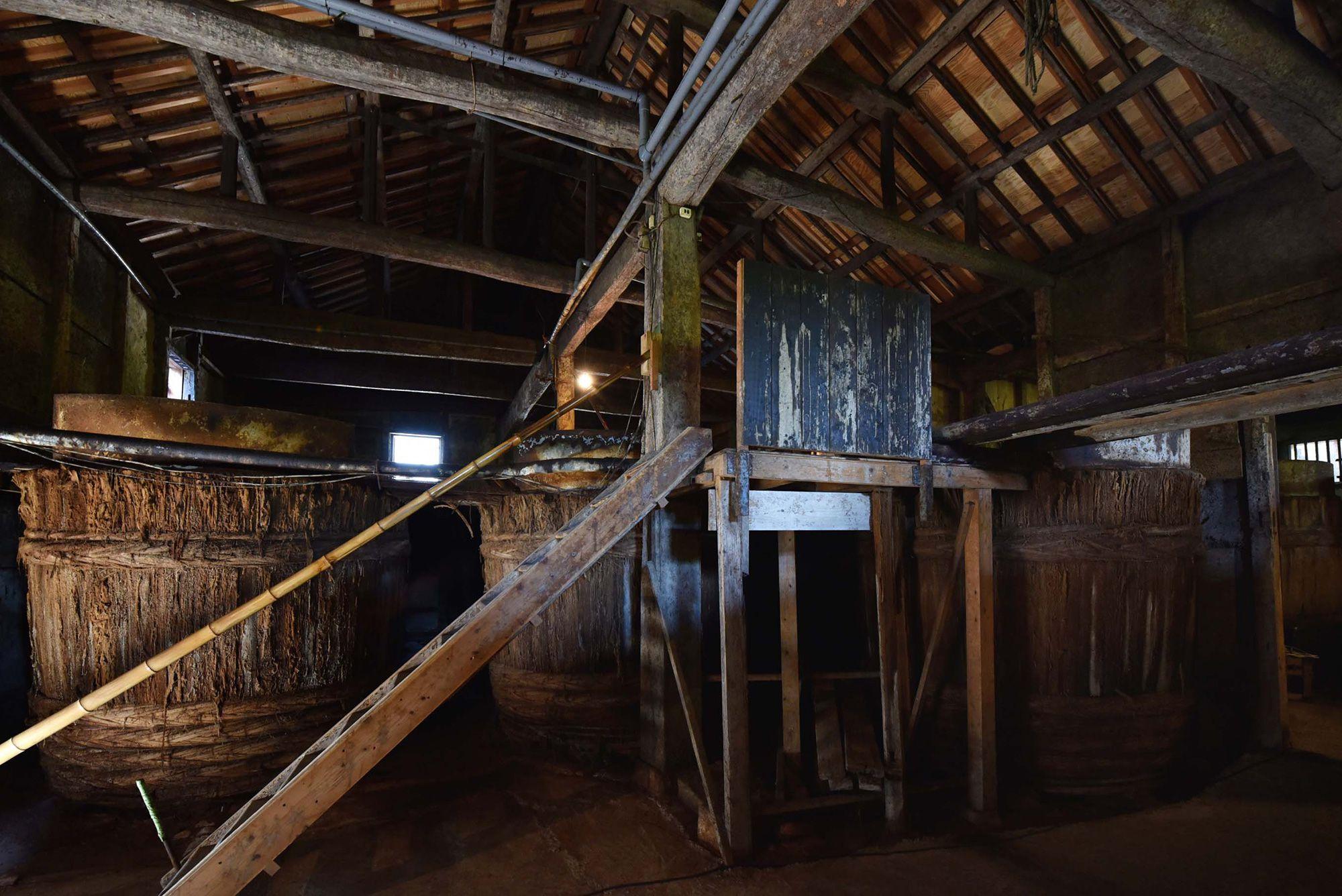 蔵の中にも、木桶のまわりにも乳酸菌や酵母菌が棲みついている。醤油造りには欠かせないもの。