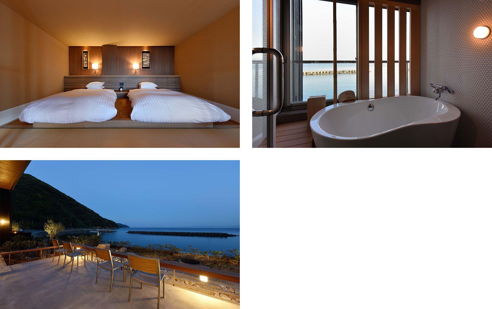 モダンで落ち着いた客室からも望むのは海。刻々と変化する空と海の色を眺める、贅沢な時間。