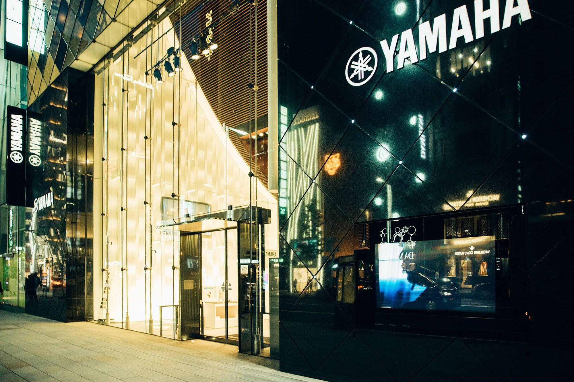 銀座通りに面するヤマハ銀座ビル。音楽を愛する人のための贅沢な空間だ。