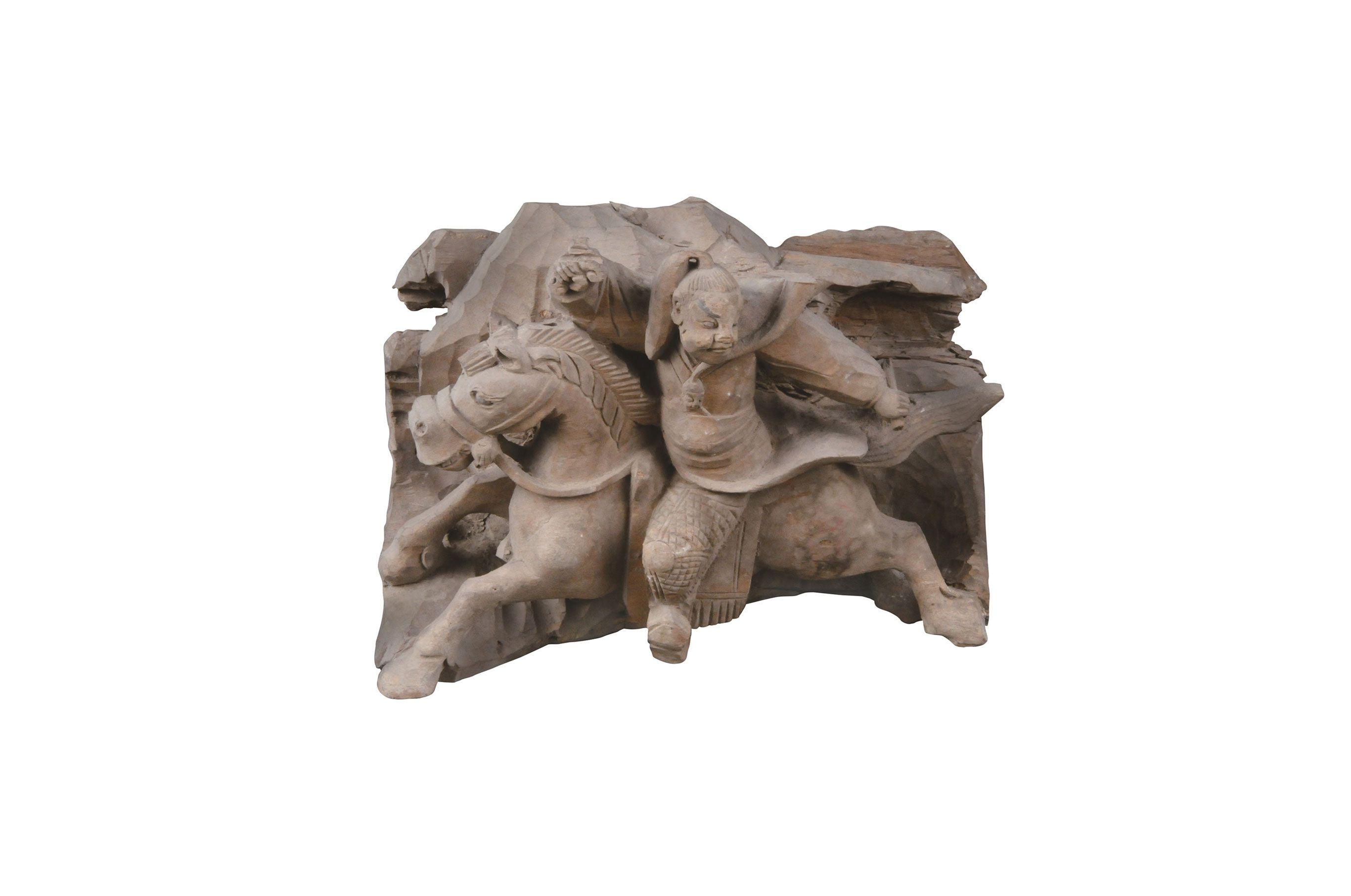 趙雲像(ちょううんぞう)木製 清時代・17~18世紀 安徽省亳州市花戯楼伝来 亳州市博物館蔵