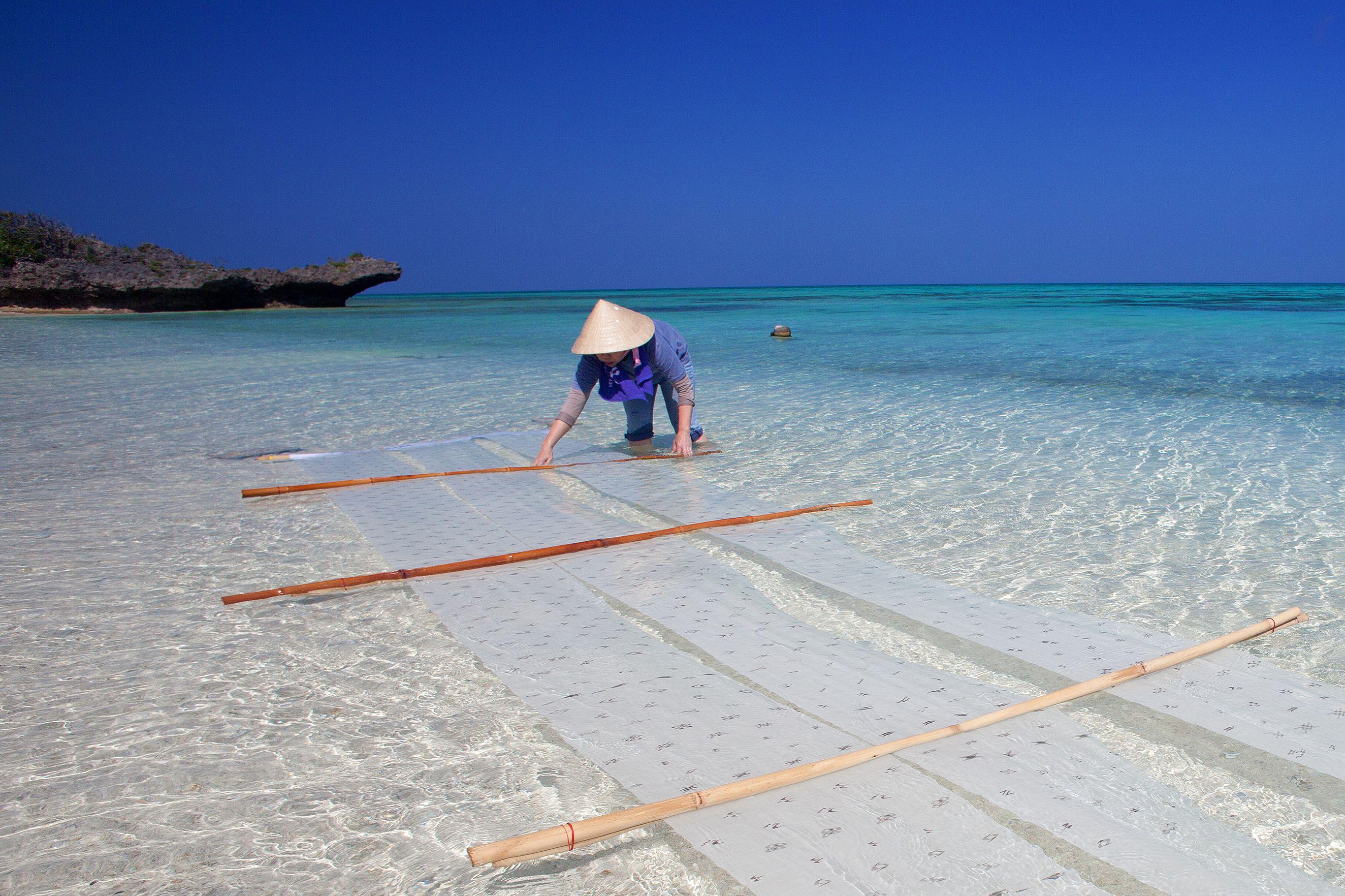 八重山上布の海晒し。海水と太陽の光に晒された布は白さを増す。