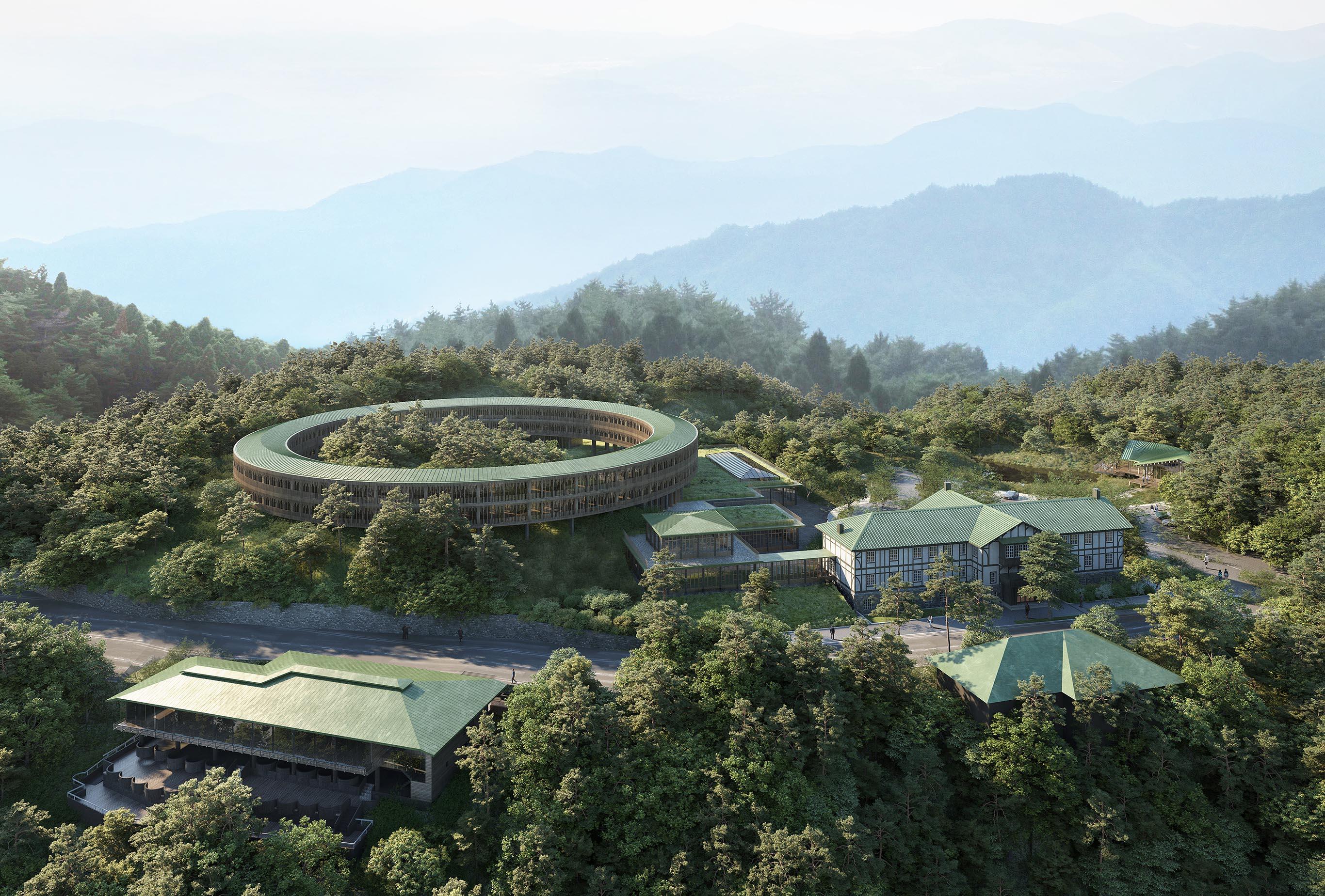 2025年に完成予定の六甲山サイレンスリゾートの全貌。第1フェーズとして2019年7月にオープンしたのは、写真右奥の旧館(旧六甲山ホテル)と右手前のグリルレストラン。©️Rokkosan silence resort