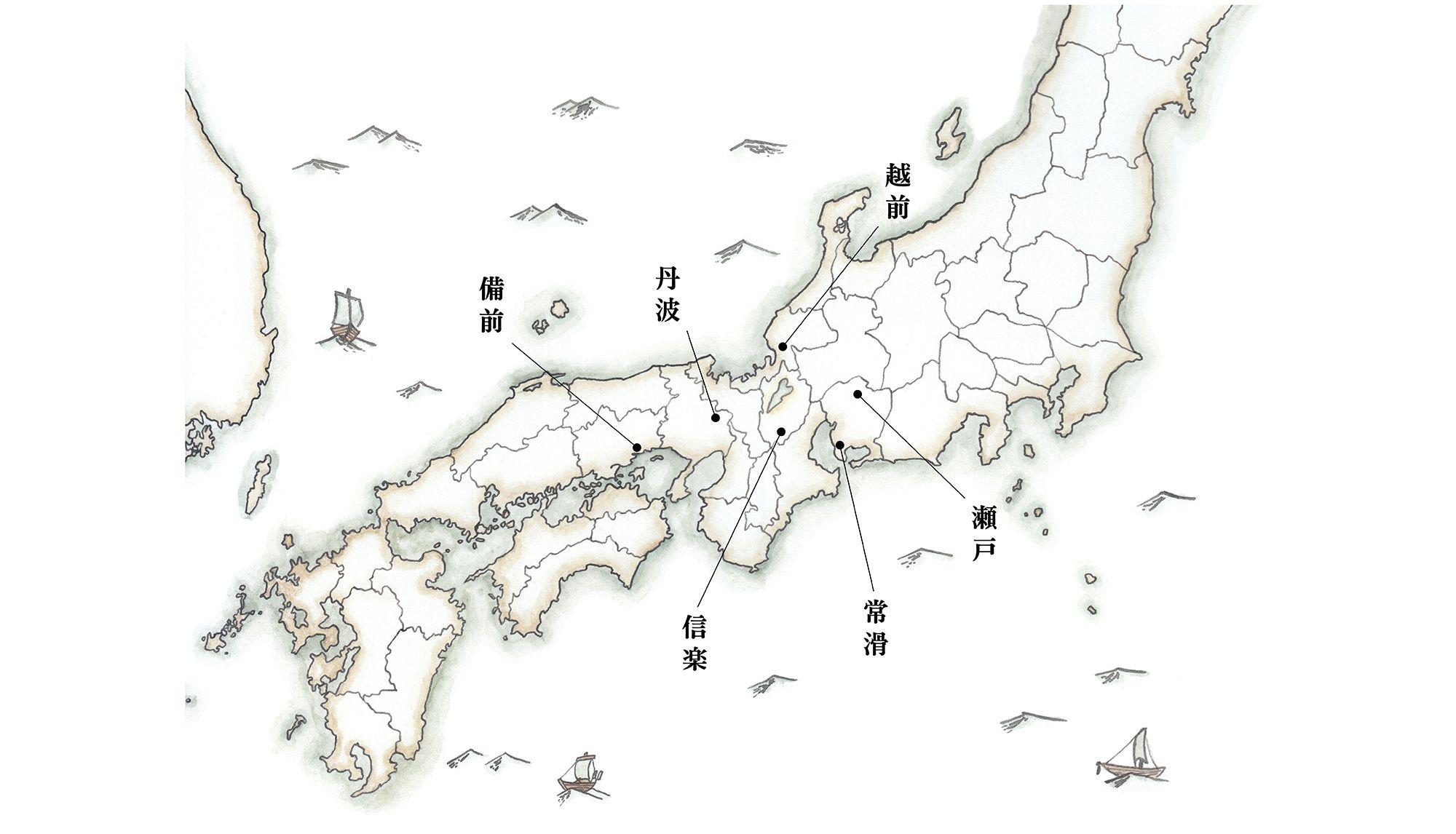 日本に分布する六古窯。中世には、80ヶ所を超える陶器生産地が存在したことがわかっている。