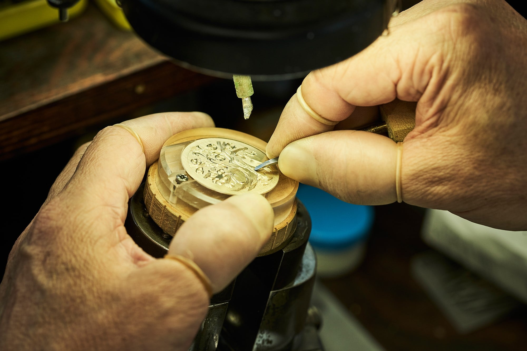The production time exceeds beyond 100 hours to create the three-dimensional hand-engraving.