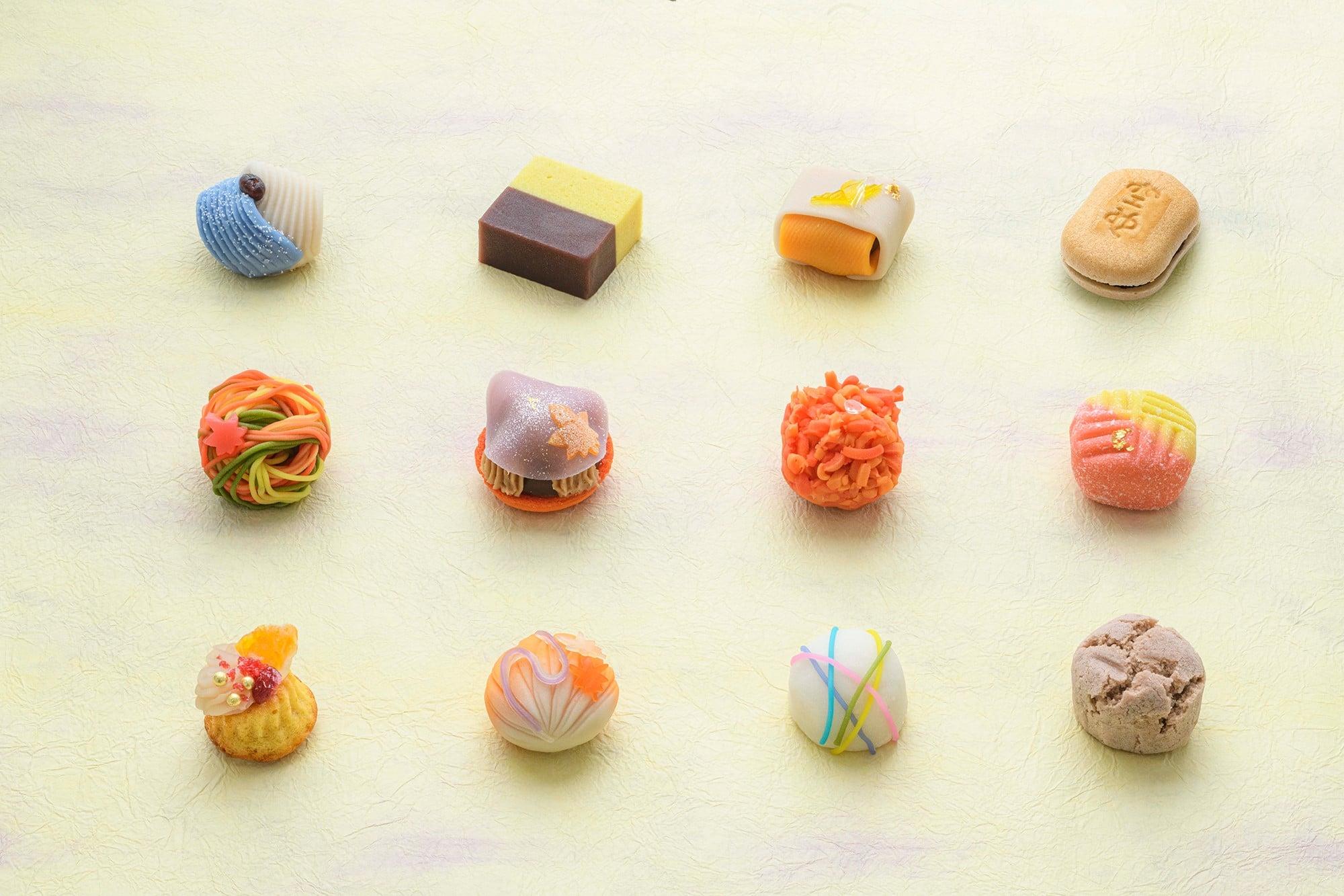 銀座の名店が銀茶会のために用意したオリジナルお菓子、東北、熊本の被災地の銘菓が供される。