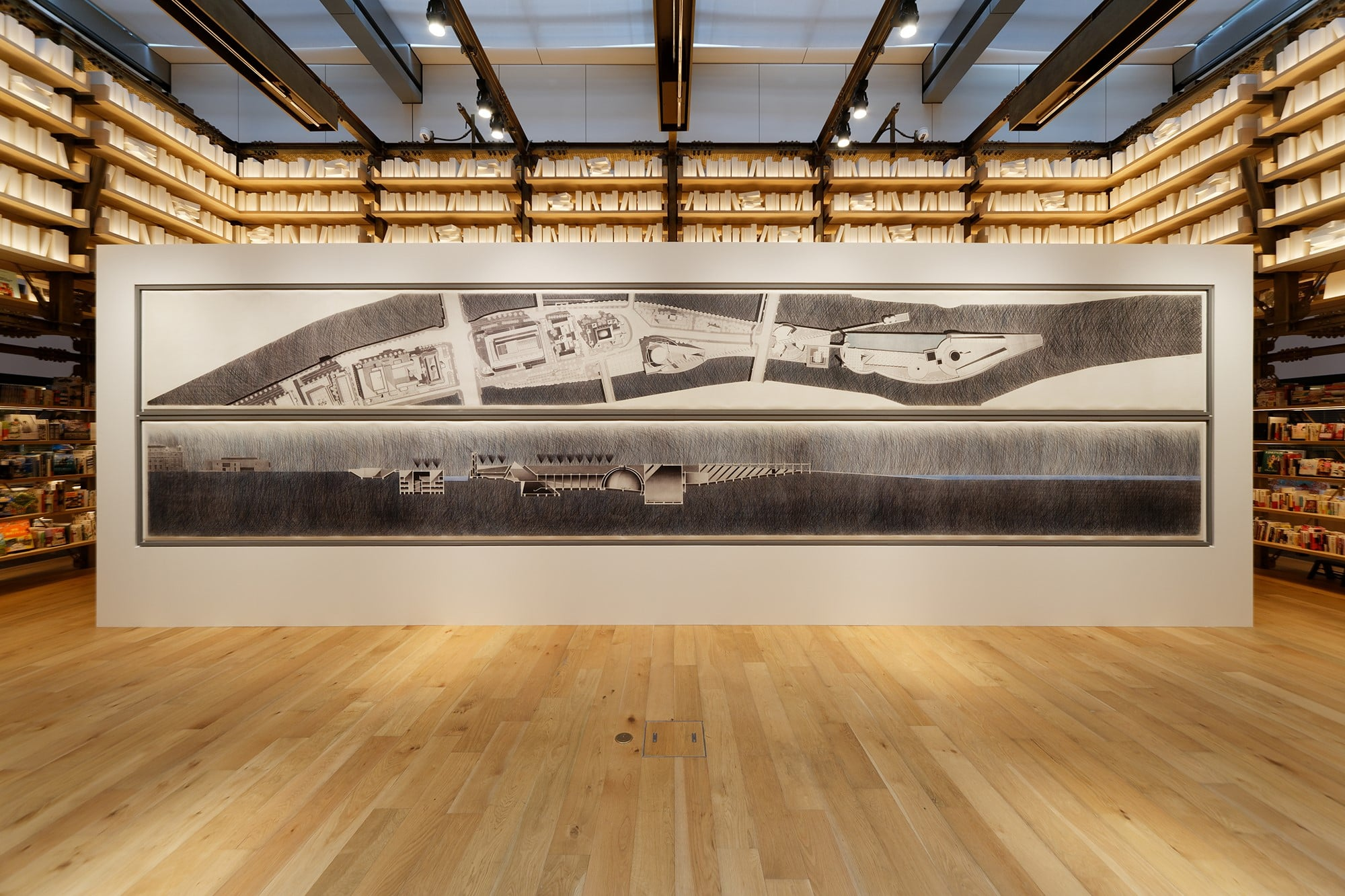 "In June of 2019, two drawings of the 10-meter Nakanoshima Project was displayed at the ""Tadao Ando: Challenge"" exhibition at the Tsutaya Shoten Ginza in GINZA SIX. The displayed work was a reproduction using high definition print technology from the original work which was all hand-drawn. Ando's work portfolio, ANDO BOX V includes the ""Urban Egg"", which was announced from amanasalto. http://amanasalto.com/©amanasalto"
