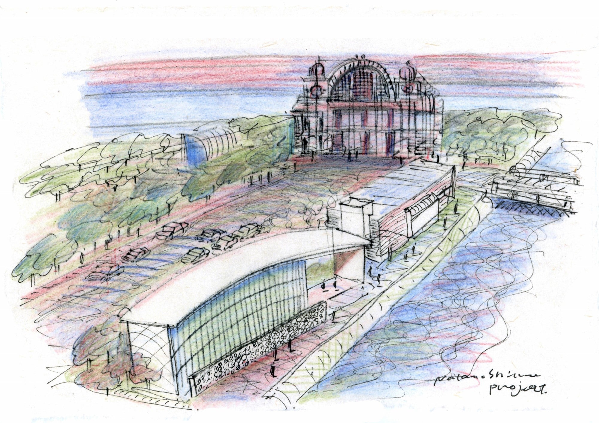 The drawing of Nakanoshima Children's Book Forest, which is scheduled to open in March  of 2020. Ando himself designed the book forest and donated to Osaka City. He is concerned about the children who are missing the opportunity to read books, and he strongly wishes that they can become familiar with books to develop their expression, imagination and determination. © TADAO ANDO ARCHITECT & ASSOCIATES