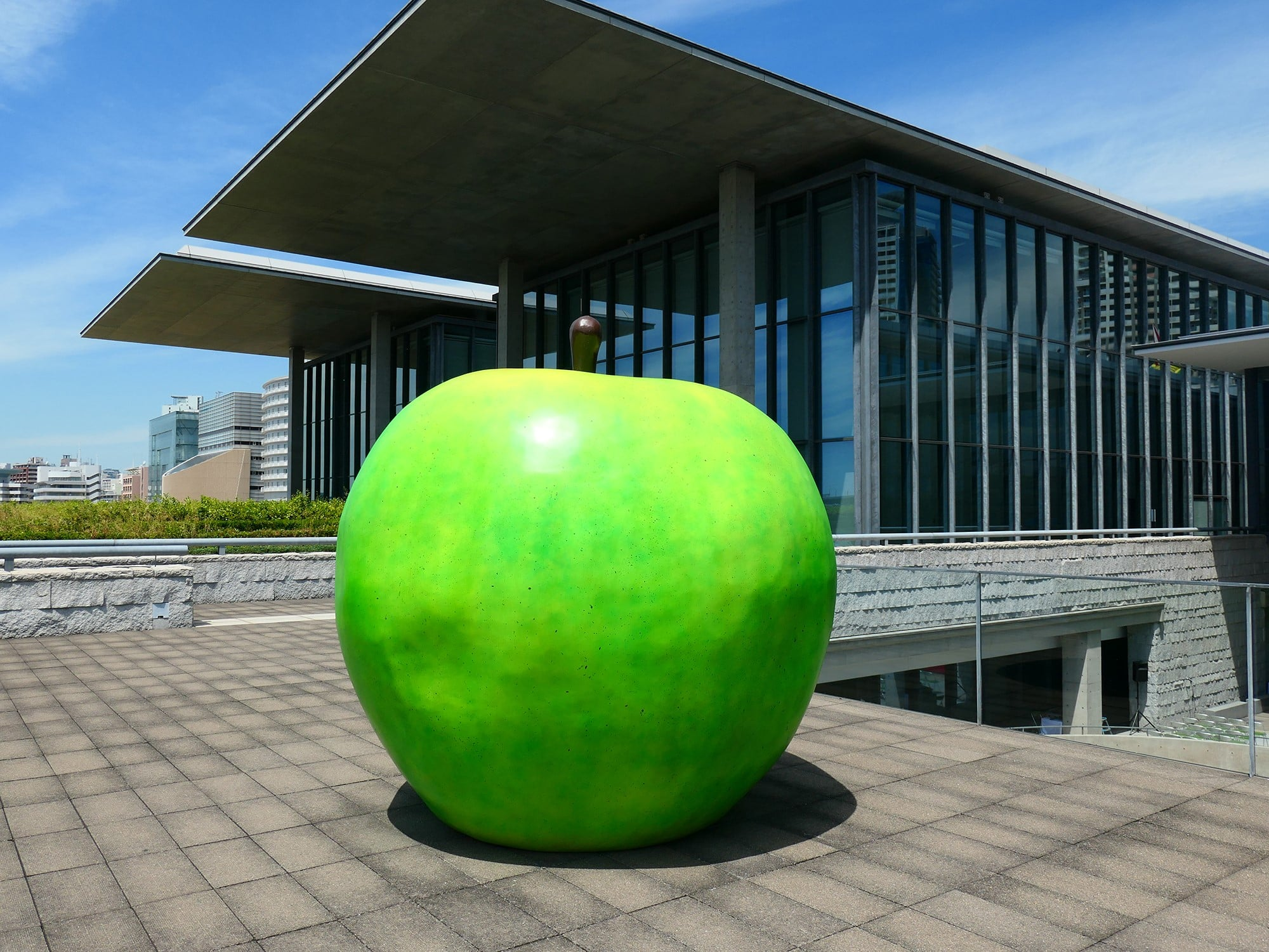 "The Green Apple is installed on the Seaside Deck of the museum. Ando was inspired by the poem,""Youth"" by the American Poet, Samuel Ullman."