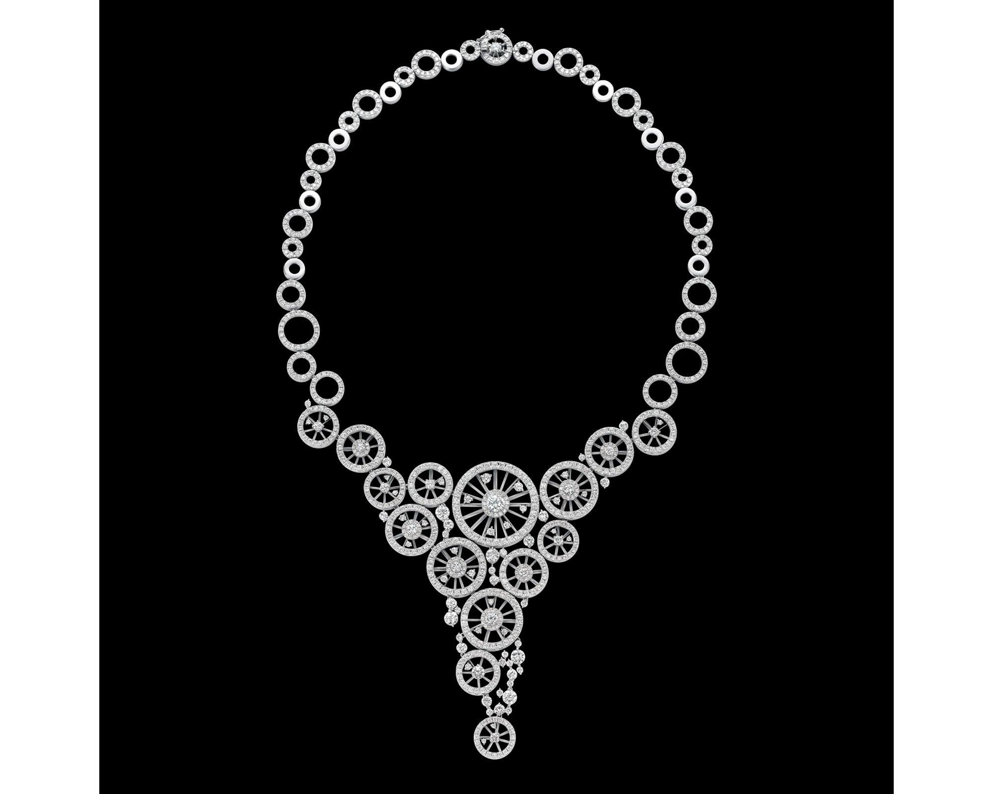 「かぐるま」ネックレス。 プラチナ・ダイヤモンド(0.50ct、14.00ct)。 18,000,000円 税別