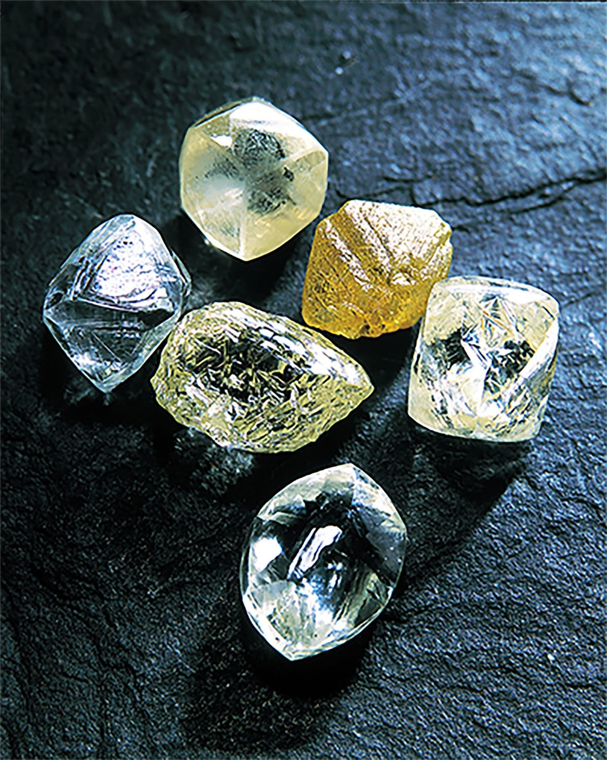The various rough diamonds that are rarely seen. The shine of the diamonds without cutting and polishing are beautiful.