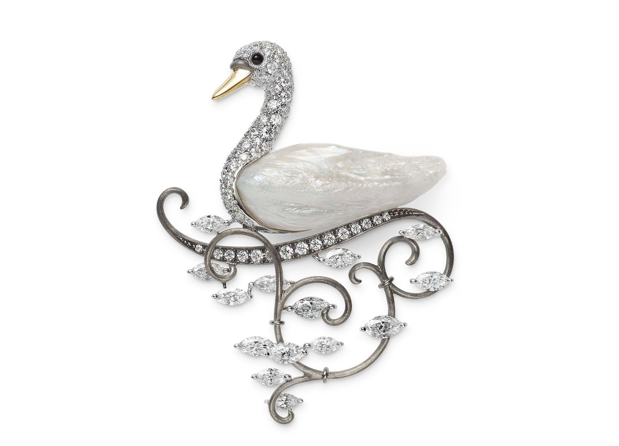"A swan brooch using natural freshwater pearls called ""Feather Pearls"". The diamond represents the sunlight reflection from the lake water surface."