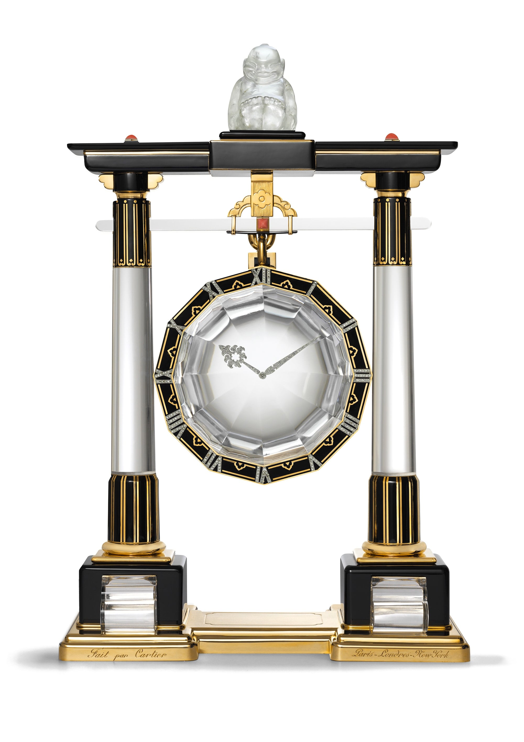 """Large Portico Mystery Clock"" Cartier, Paris, 1923, Gold, Platinum, Rock Crystal, Diamond, Coral, Onyx, Black Enamel Cartier Collection Marian Gérard, Cartier Collection © Cartier"