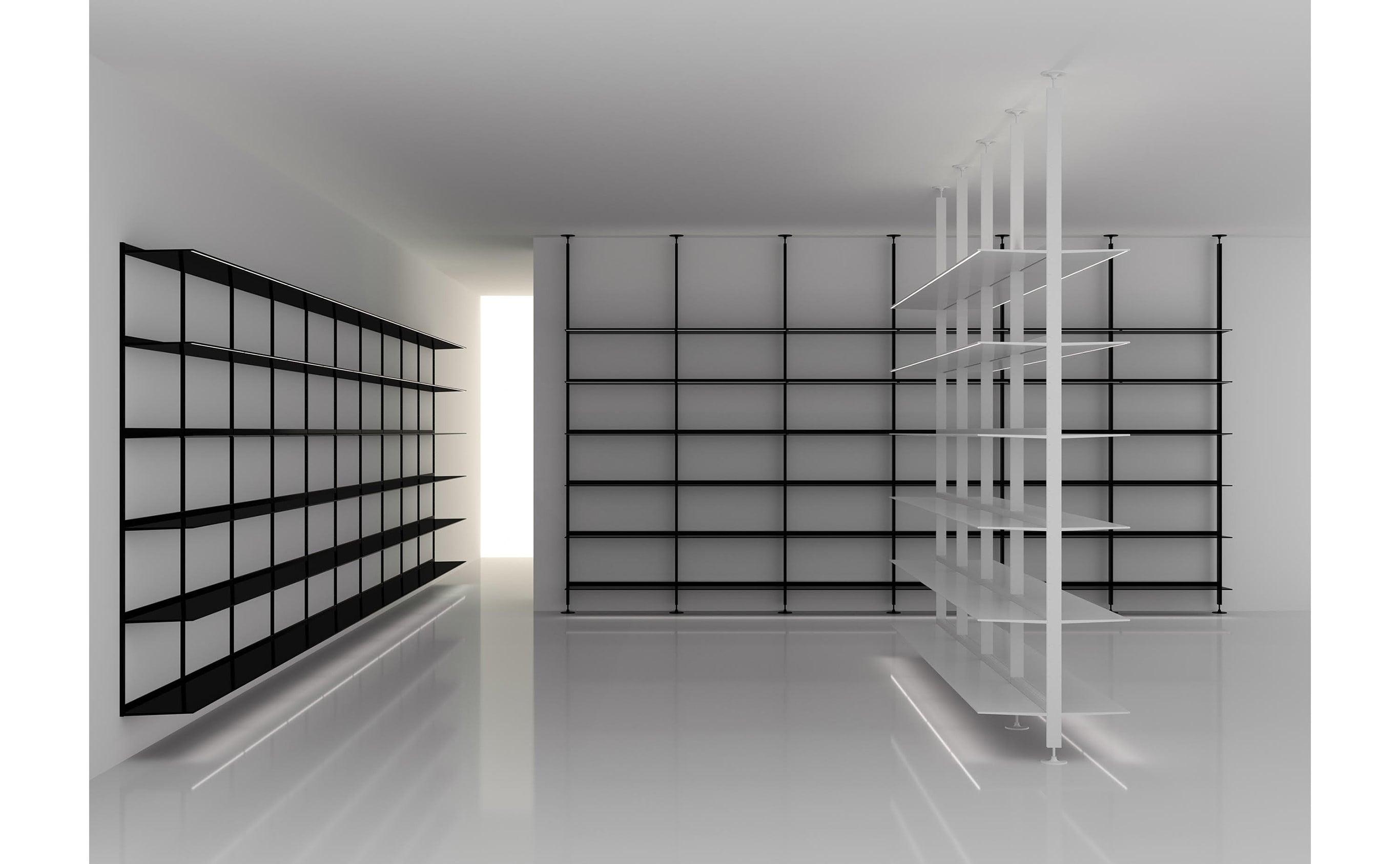 繊細な美観ながら、棚板一枚あたり80kgの耐荷重性能を持つ「Alex Products  Alex Shelf」