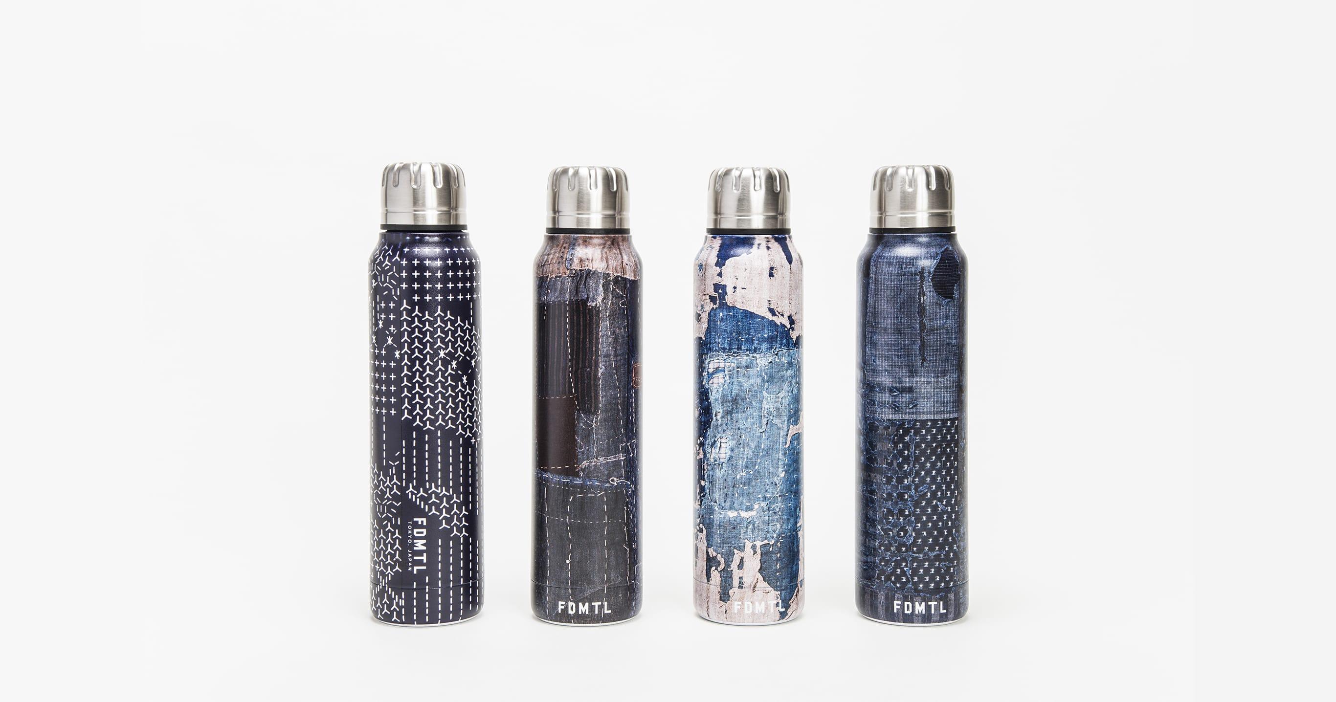 アンティークの襤褸布を高精細スキャンしボトルへプリントした「襤褸」、「刺し子カモフラージュ」など4種類をラインナップ