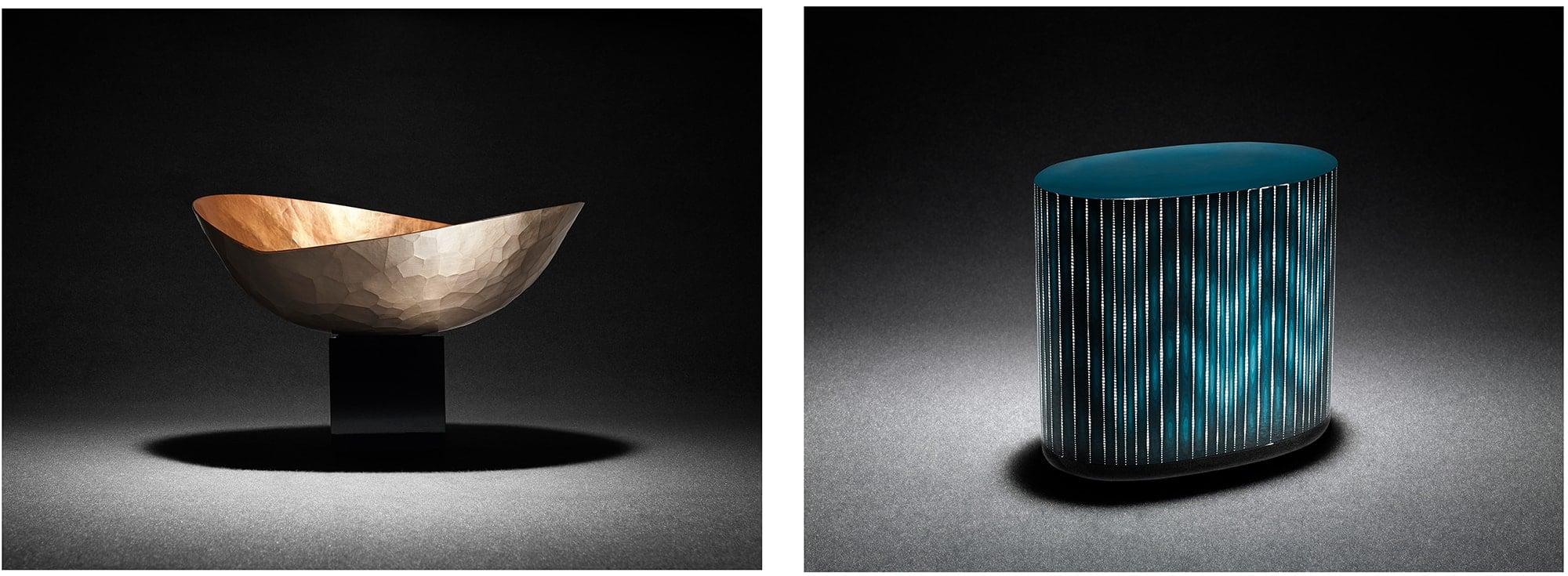 前田が日本らしさの最適解を求めてコラボレーションした「玉川堂」の鎚起銅器のワインクーラー「魂銅器」(写真左)、「七代 金城一国斎」が制作した卵殻彫漆箱「白糸」。Photography by ©MAZDA