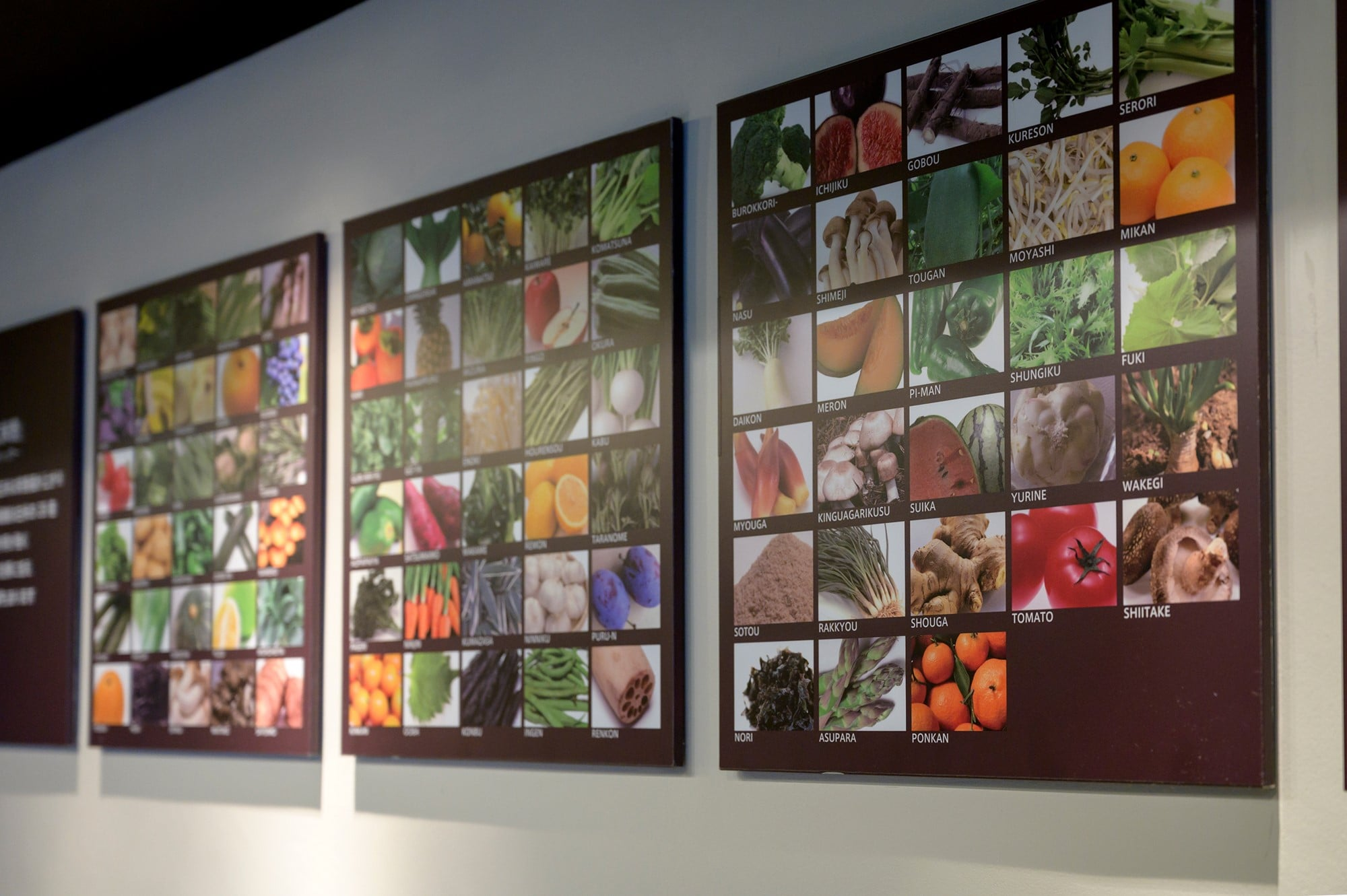 Images of more than 70 varieties of vegetables and fruits are displayed on the wall.