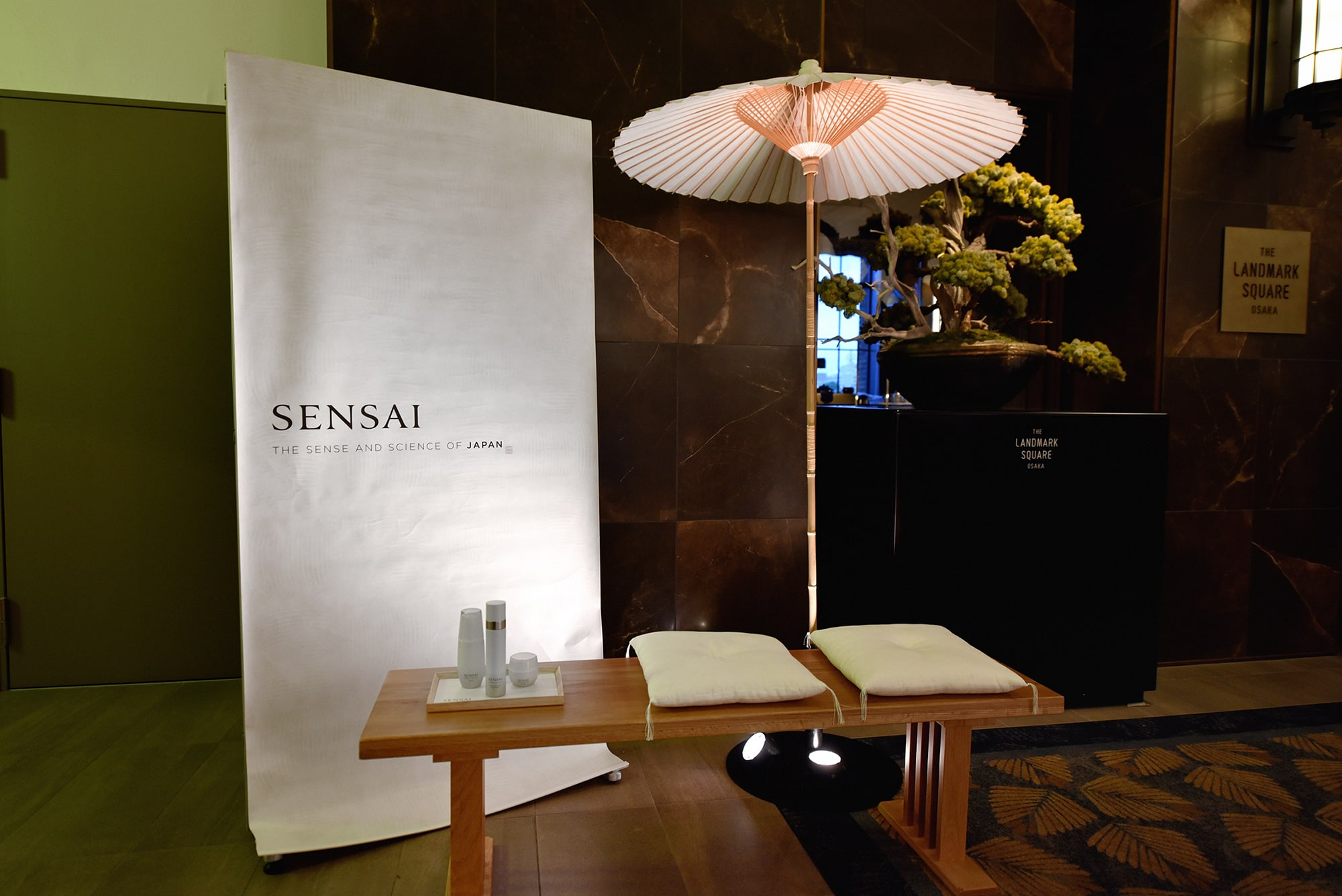 SENSAI booth at the venue. The products were displayed using open-air seats for tea ceremonies.