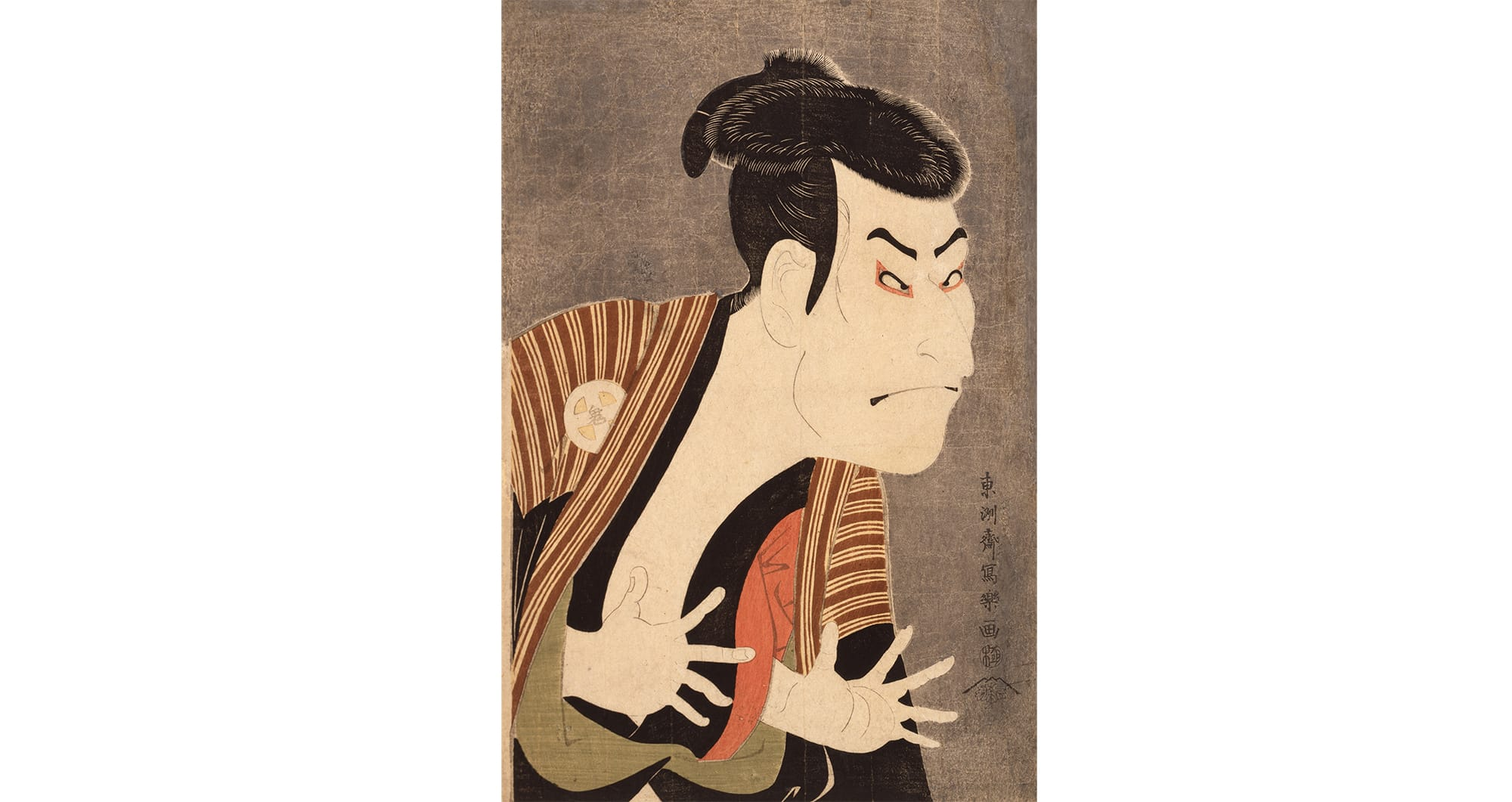 Toshusai Sharaku, The Actor Otani Oniji Ⅲ as Edobei, Oban, Nishiki-e, May, 6th Year of the Kansei Era (1795) , Japan Ukiyo-e Museum. Similar to the photographic portraits of celebrities we have today, the Yakusha-e (Actor Prints) became popular among common people and lead to making the ukiyo-e to become a part of their lives.