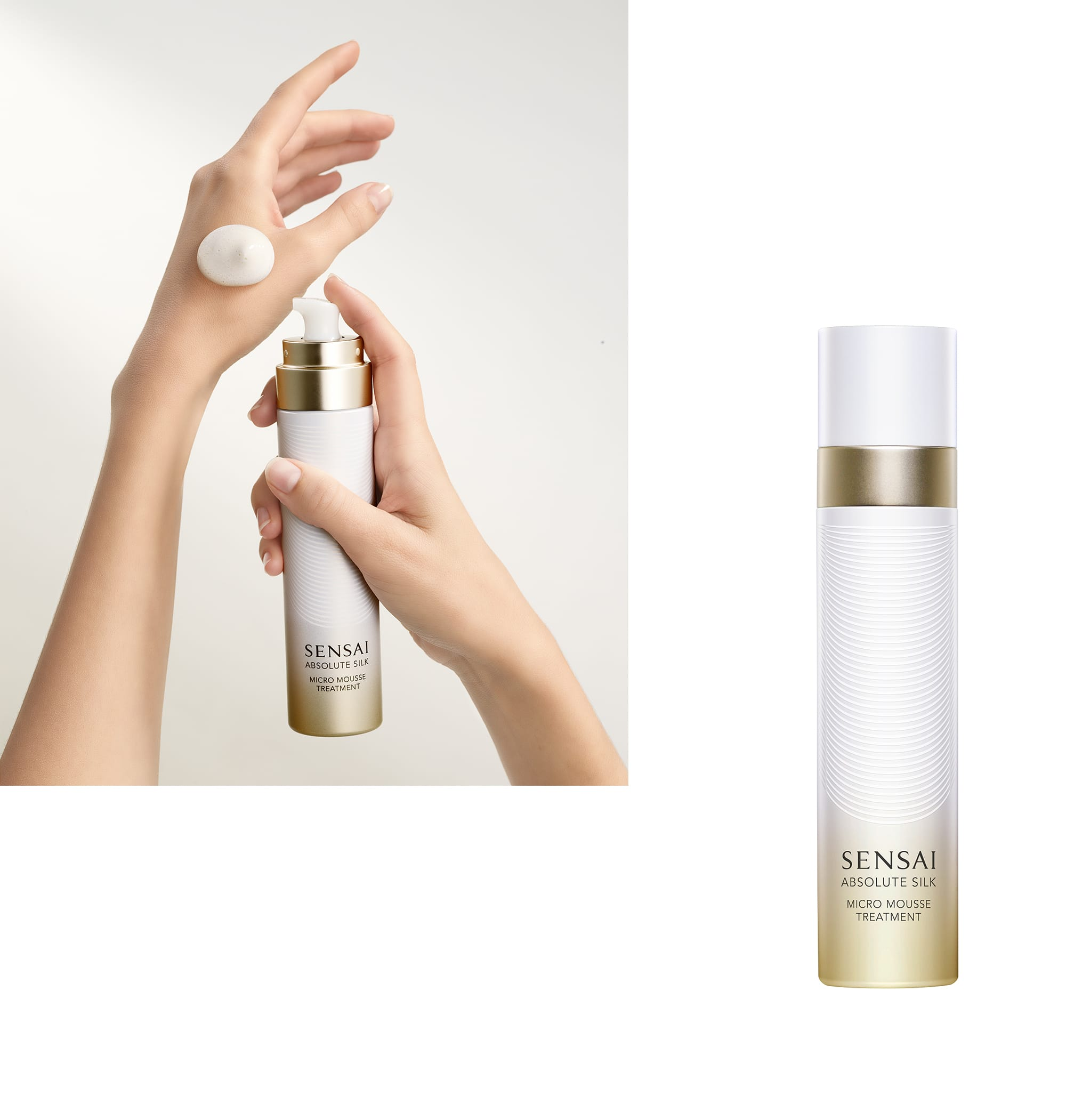 SENSAI AS Micro Mousse Treatment [Skin Lotion] 90ml 18,000 Yen (Tax is not included). This foaming skin lotion resembles a silk cocoon. By hand pressing the lotion foam onto the skin, the lotion spreads, melts and effervesces into the skin.