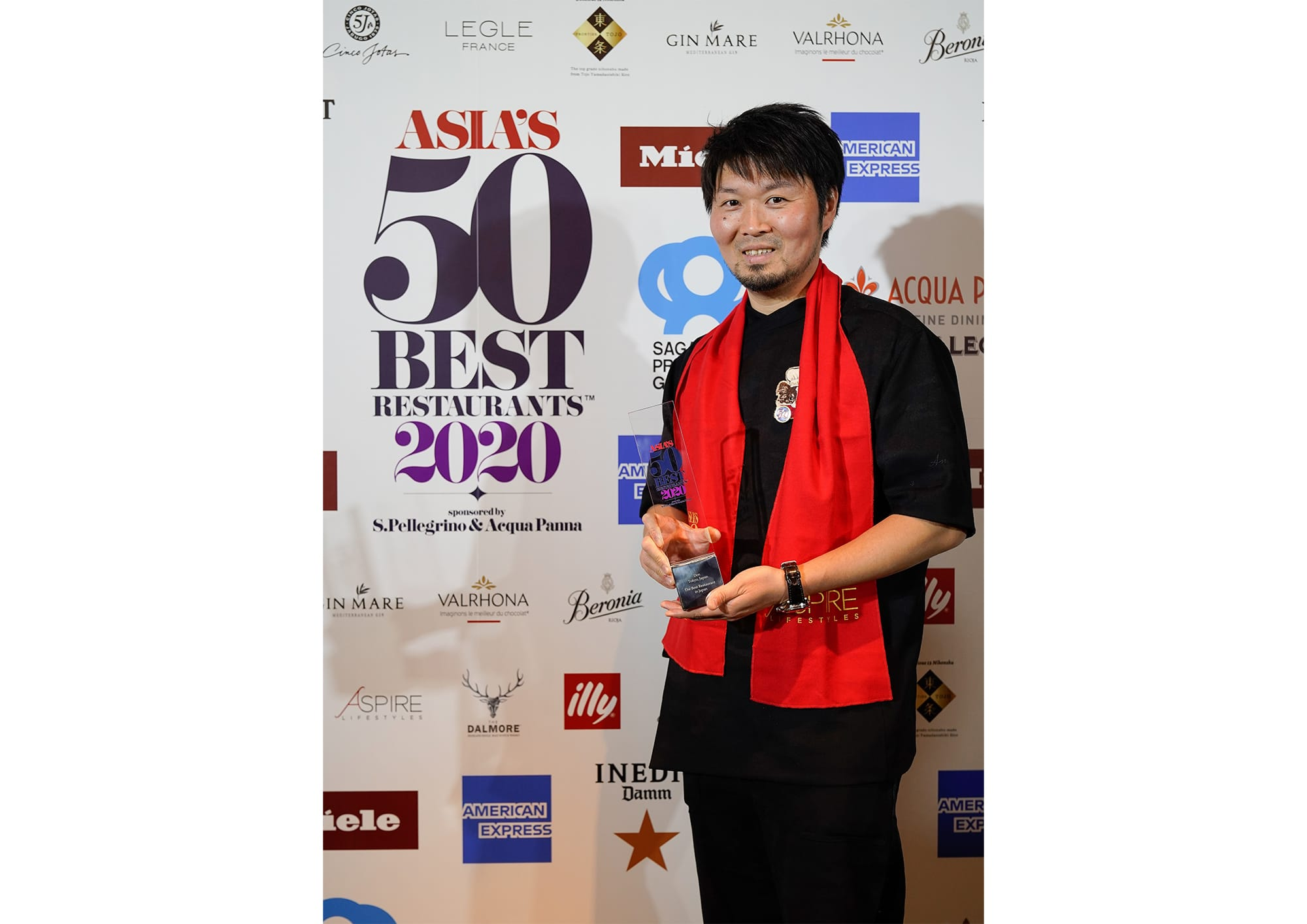 "Zaiyu Hasegawa, the head chef of Den was awarded the title of Japan's Best Restaurant for three years in a row. On the stage, before addressing any words of joy, Hasegawa said, ""I pray that the chefs around the world will be in a better situation as soon as possible""."